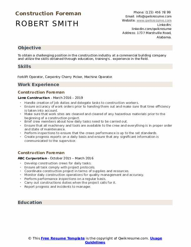 Construction Foreman Resume Example