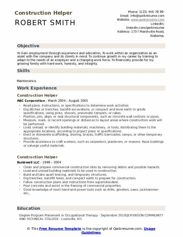 Construction Helper Resume Samples Qwikresume