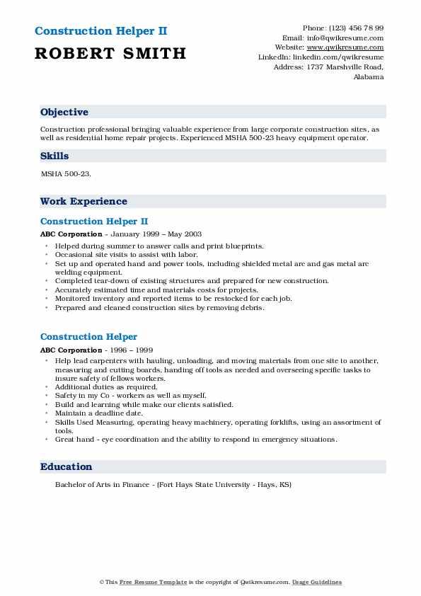Construction Helper II Resume Template