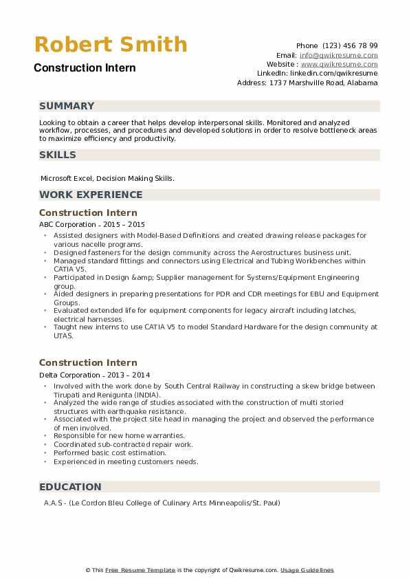 Construction Intern Resume example