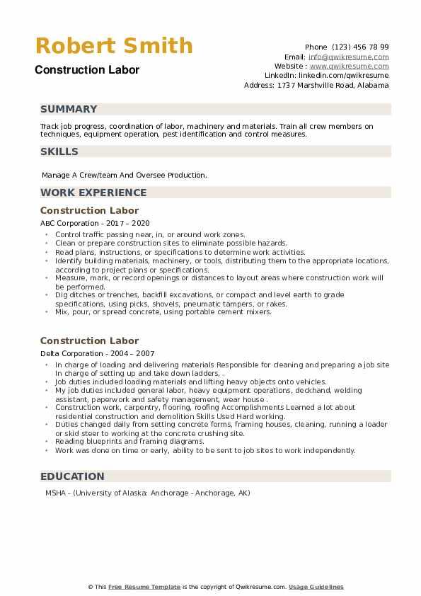 Construction Labor Resume example