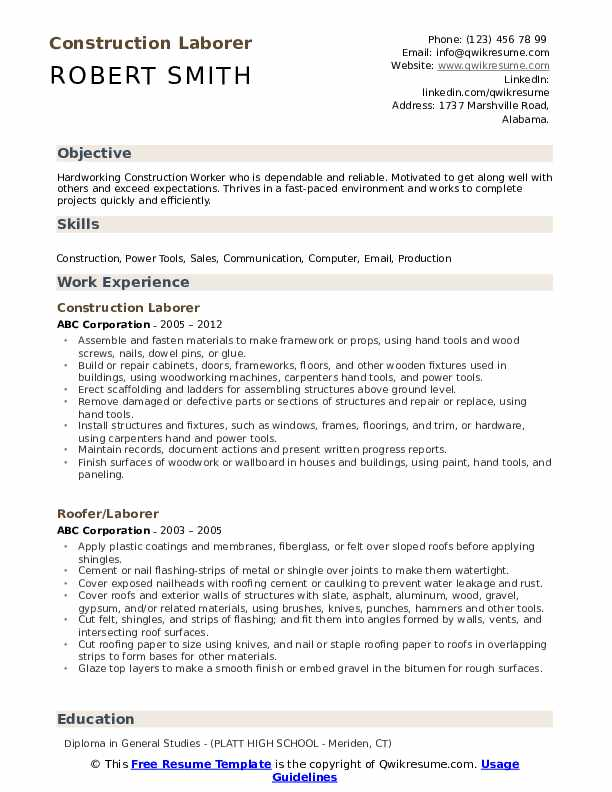 Construction Laborer Resume Format