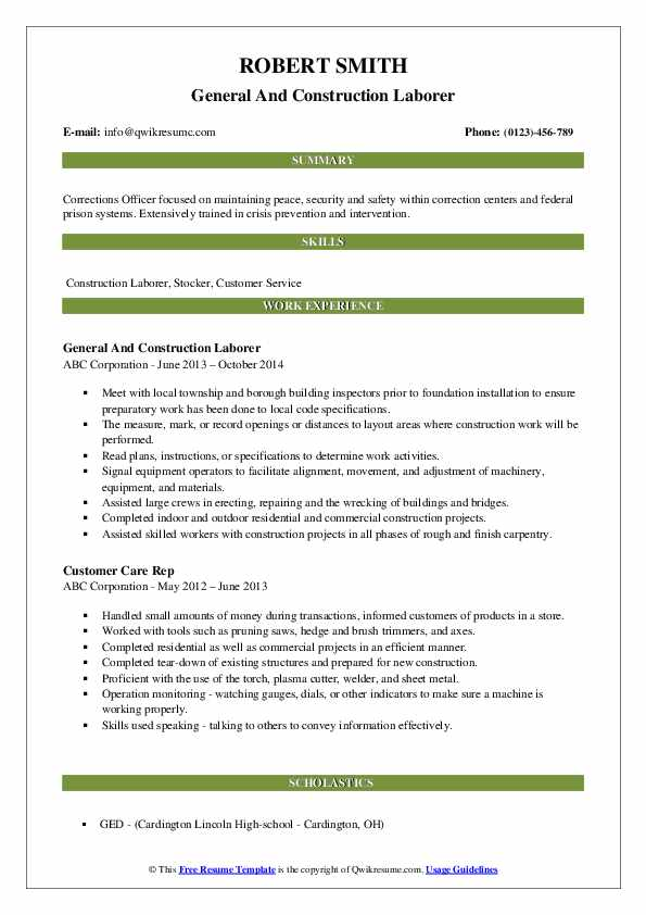 General And Construction Laborer Resume Model