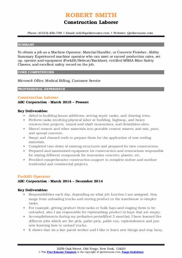 Construction Laborer Resume Samples Qwikresume