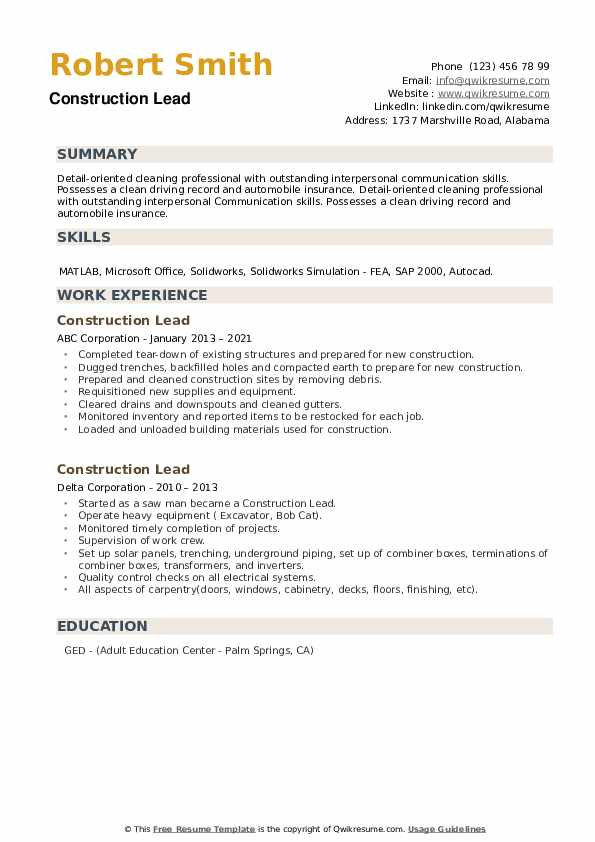 Construction Lead Resume example