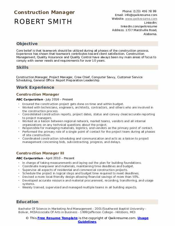 Construction Manager Resume Samples Qwikresume
