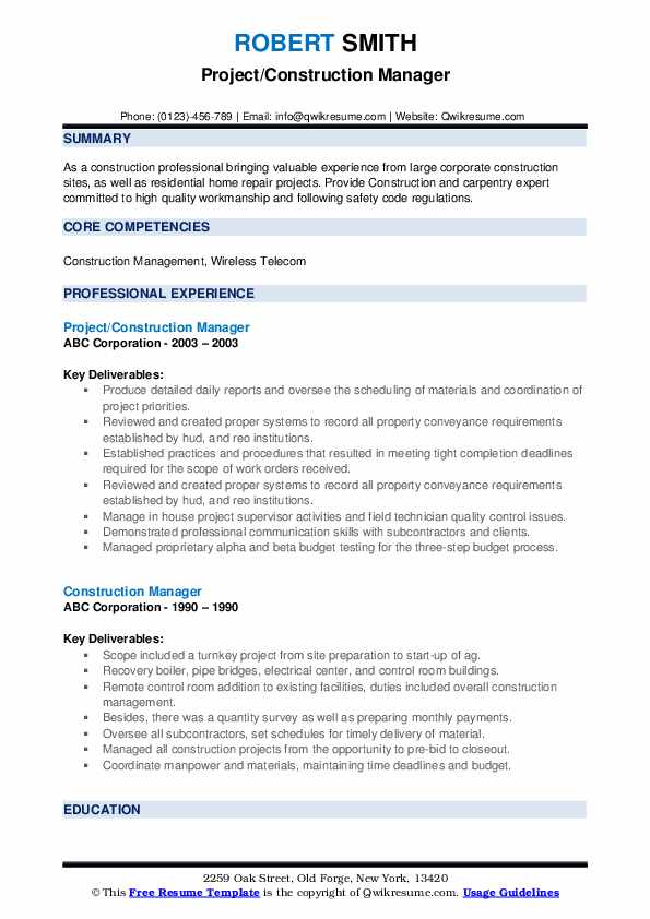 Project/Construction Manager Resume Template