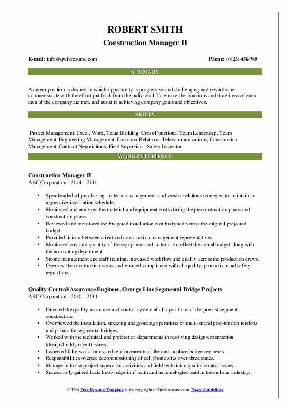 Construction Manager II Resume Format
