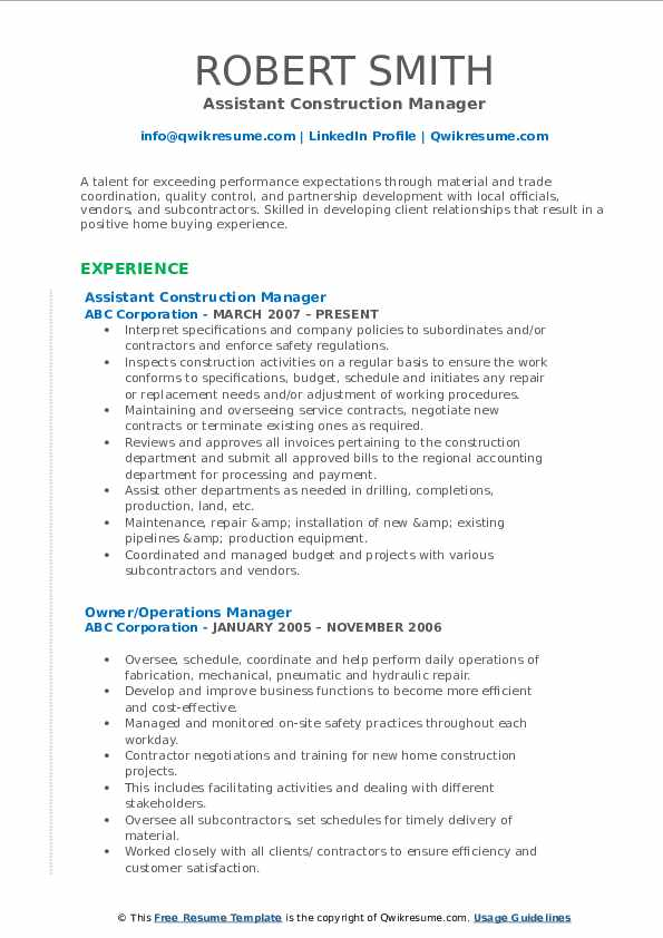 Construction Manager Resume Samples | QwikResume