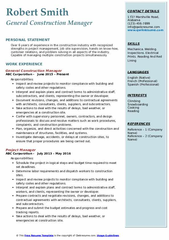 General Construction Manager Resume Model