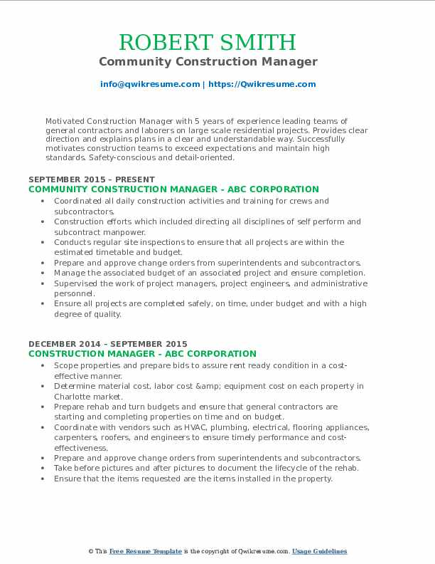 Community Construction Manager Resume Template