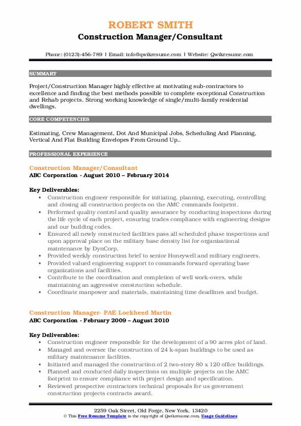 Construction Manager/Consultant Resume Template