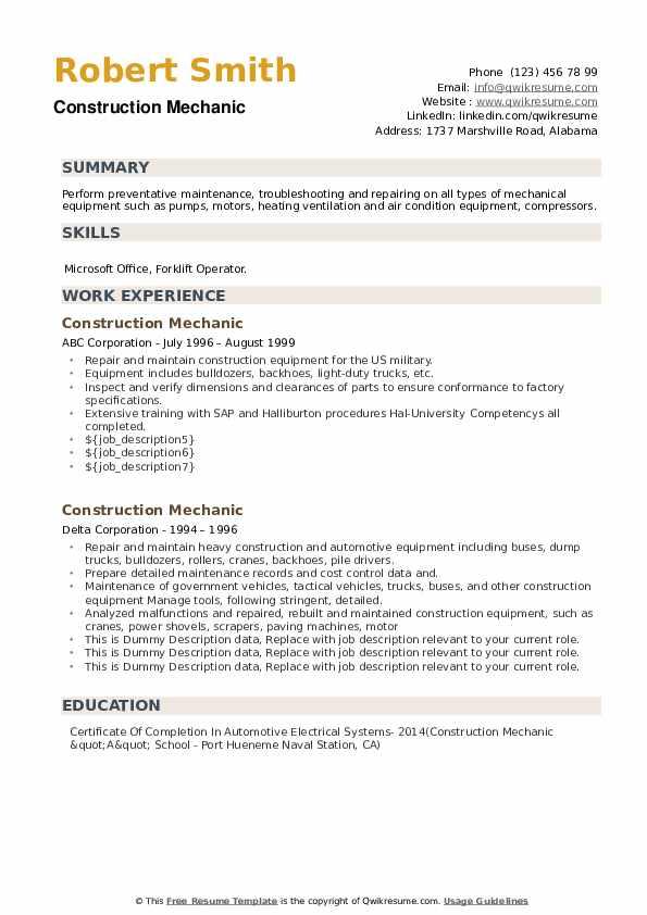Construction Mechanic Resume example