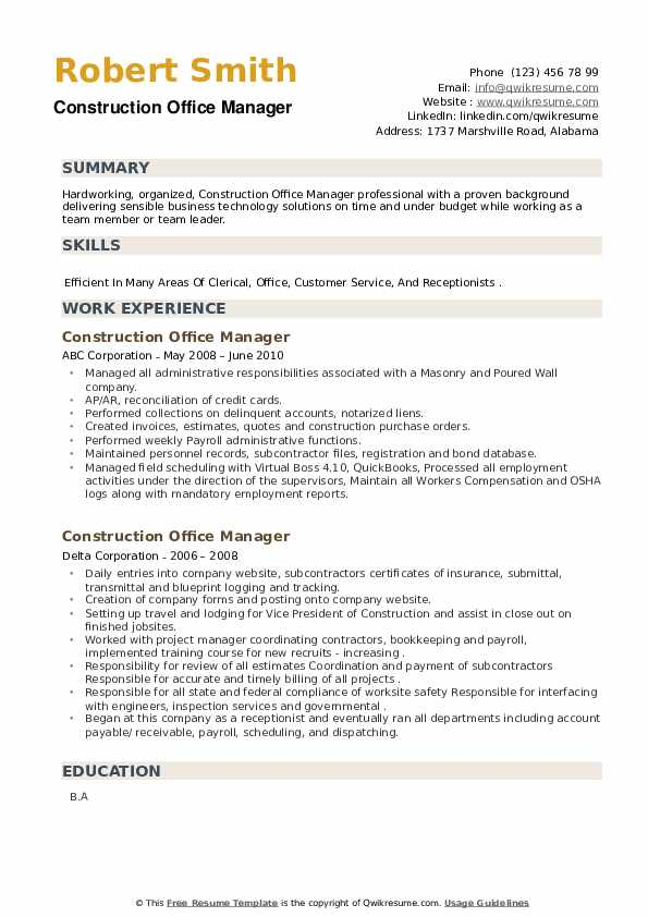 Construction Office Manager Resume example