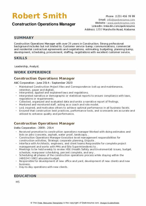 Construction Operations Manager Resume example