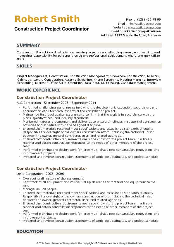 Construction Project Coordinator Resume example