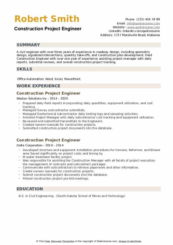 Construction Project Engineer Resume example