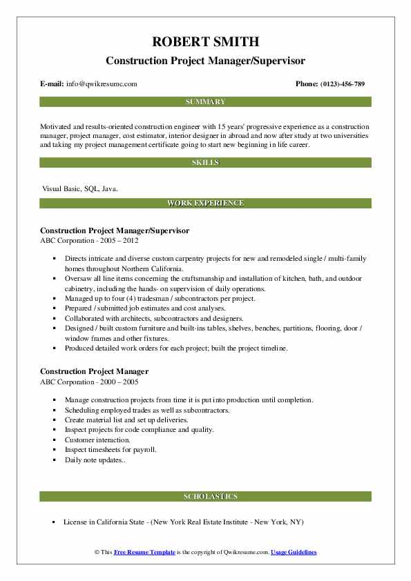 Construction Project Manager/Supervisor Resume Model