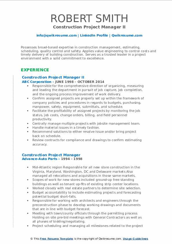 Construction Project Manager II Resume Template