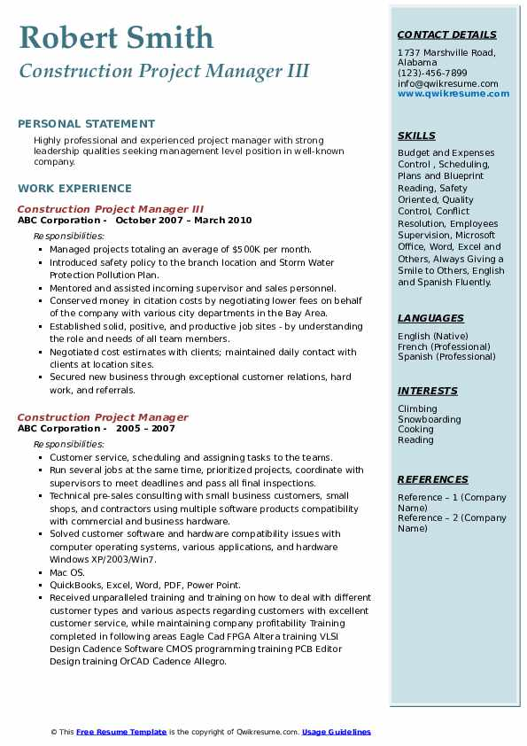 Construction Project Manager III Resume Example