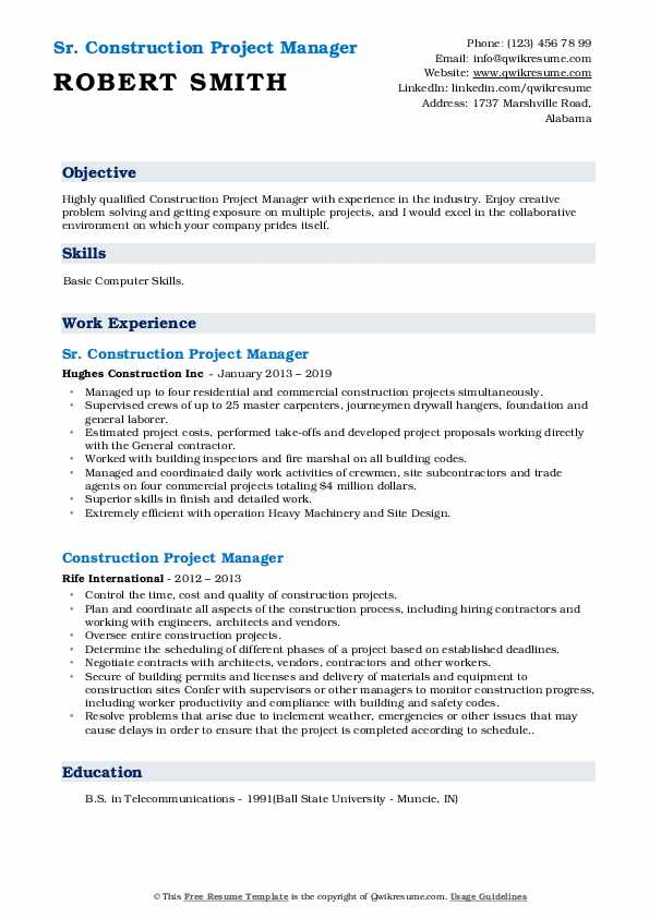Sr. Construction Project Manager Resume Template