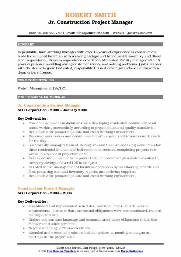 Jr. Construction Project Manager Resume Sample