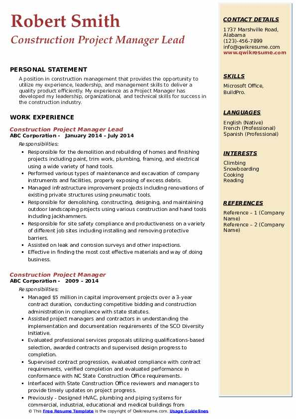 Construction Project Manager Lead Resume Sample