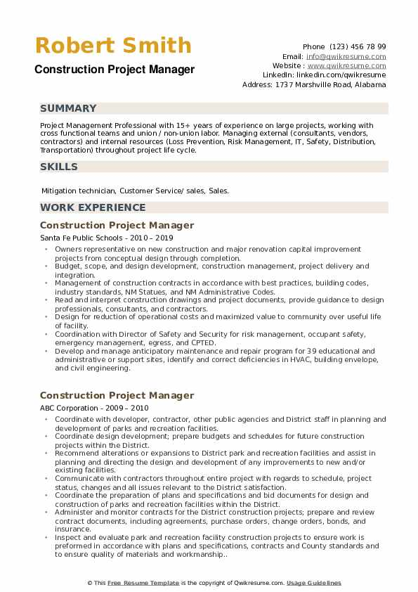 Construction Project Manager Resume Model
