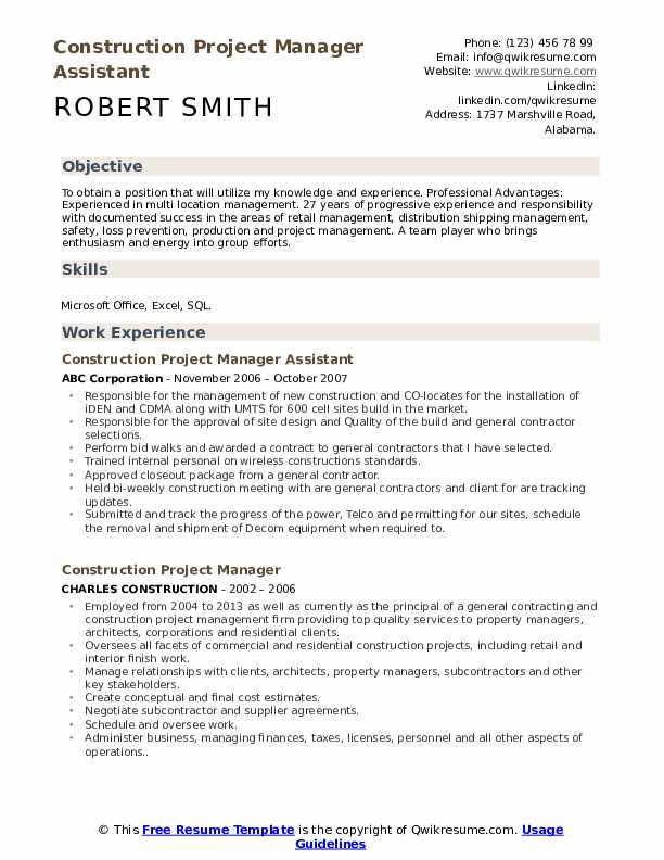 Construction Project Manager Resume Samples Qwikresume