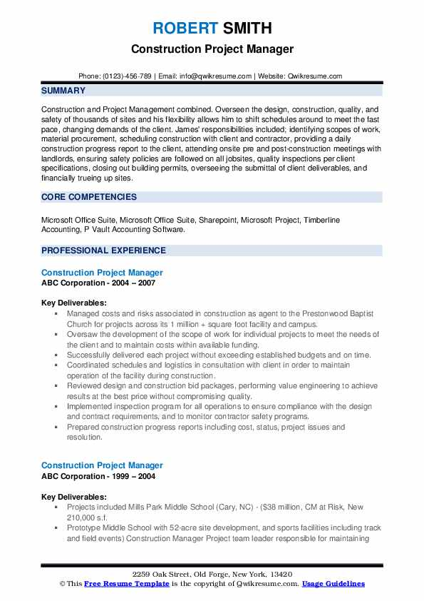 Construction Project Manager Resume Samples | QwikResume