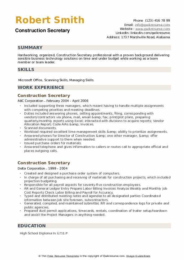 Construction Secretary Resume example