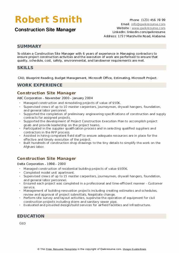 Construction Site Manager Resume example