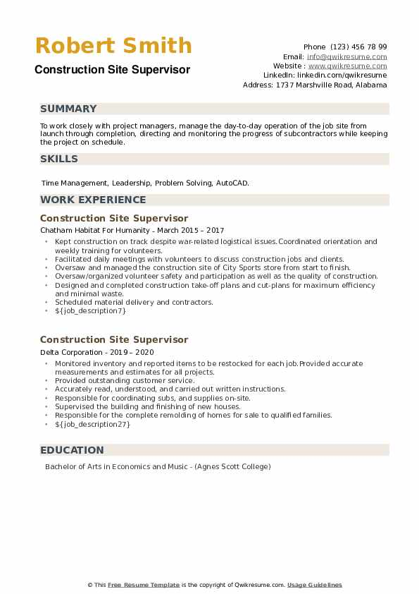 Construction Site Supervisor Resume example