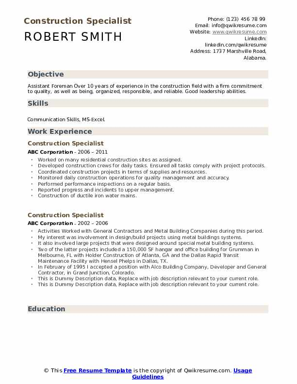Construction Specialist Resume example