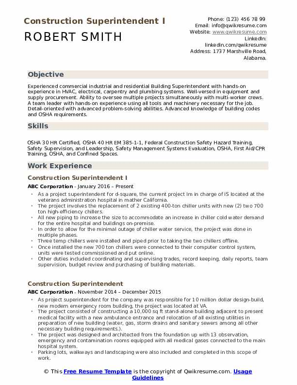 Construction Superintendent I Resume Template