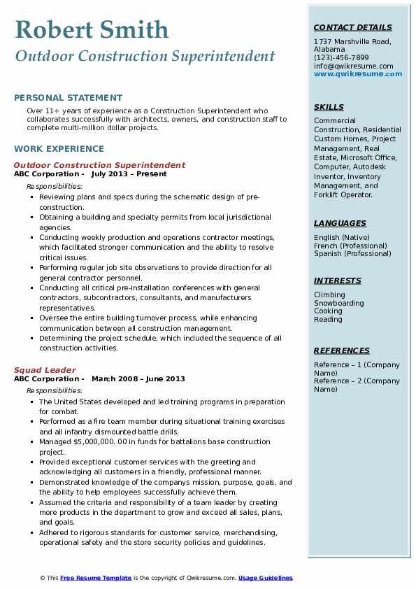 construction superintendent resume samples