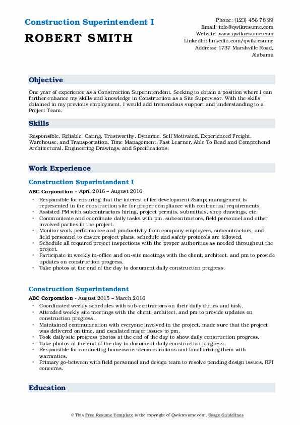 Construction Superintendent I Resume Model