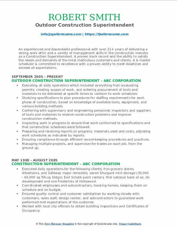 Outdoor Construction Superintendent Resume Model