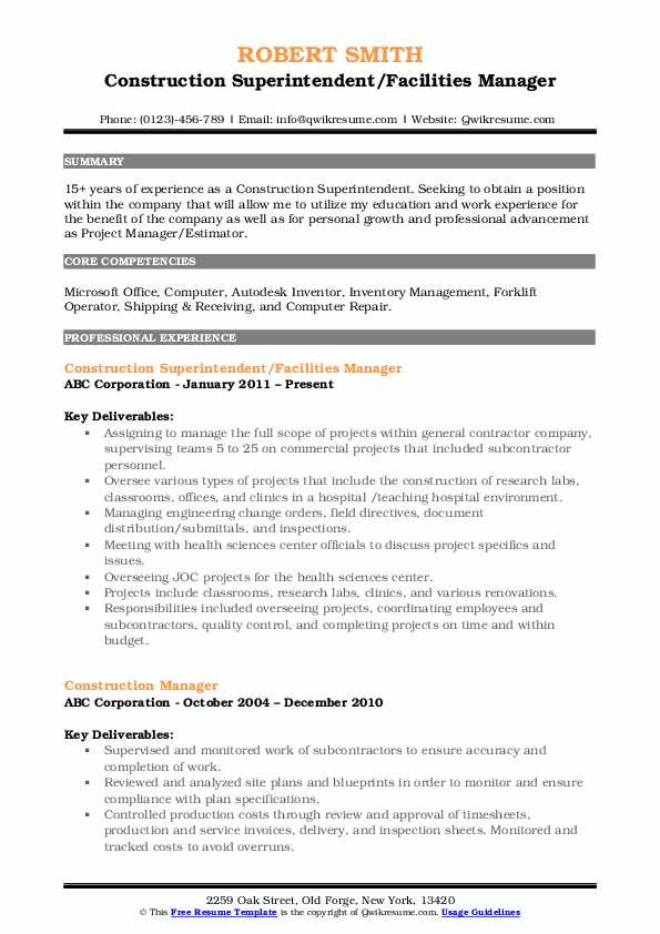 Construction Superintendent/Facilities Manager Resume Format