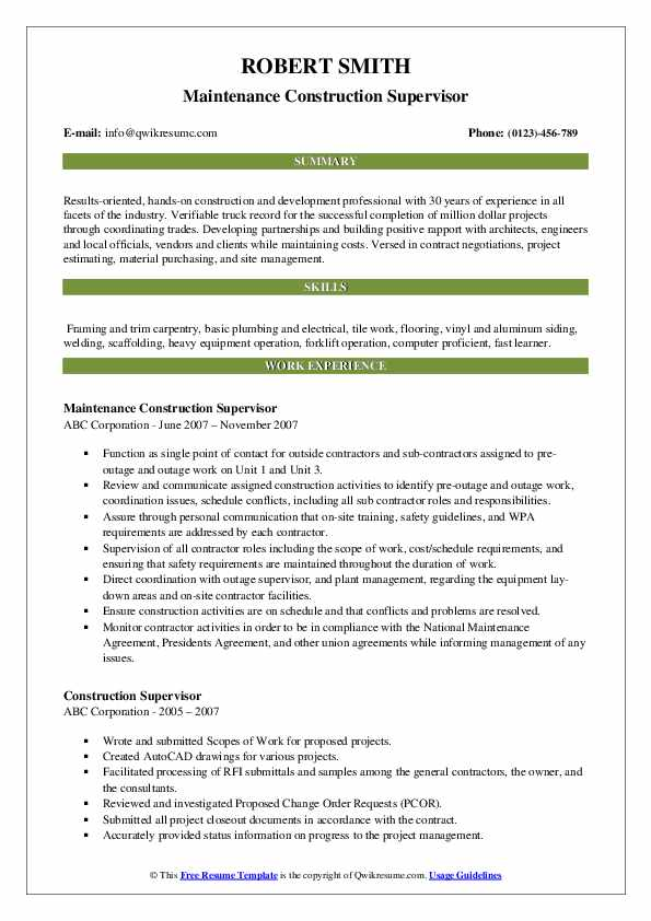 Maintenance Construction Supervisor Resume Template