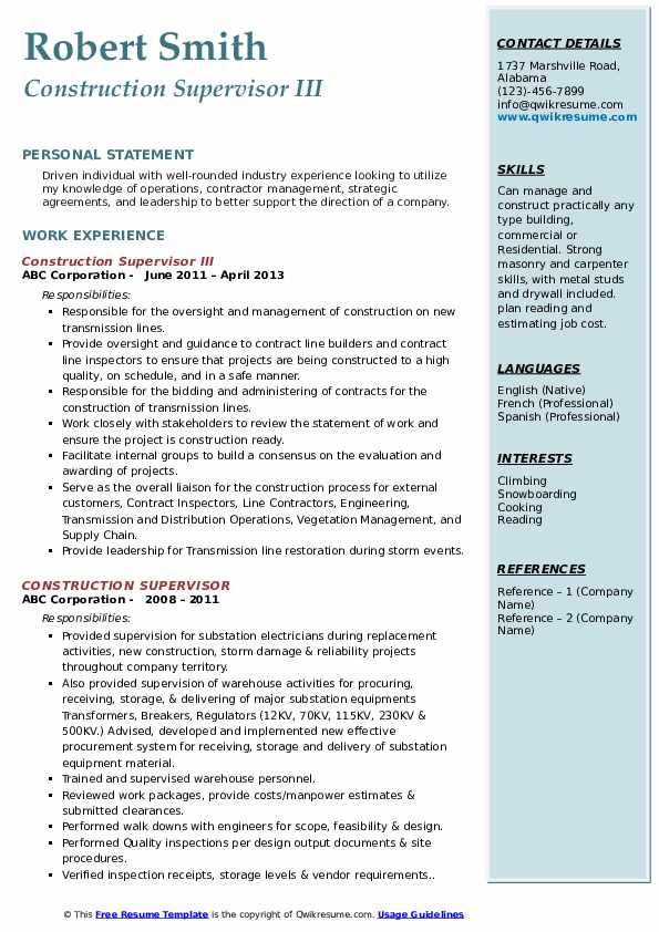 Construction Supervisor III Resume Template