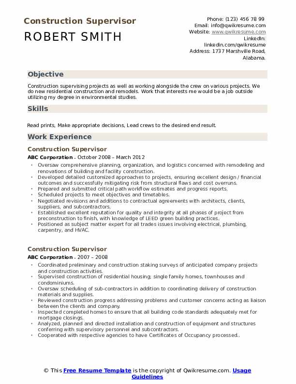Construction Supervisor Resume example