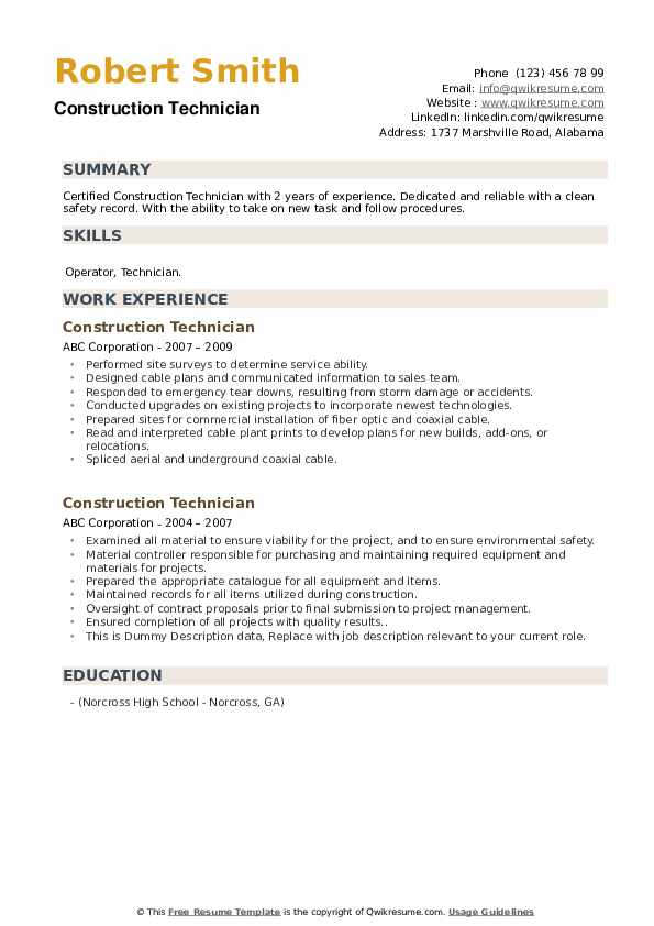 Construction Technician Resume example