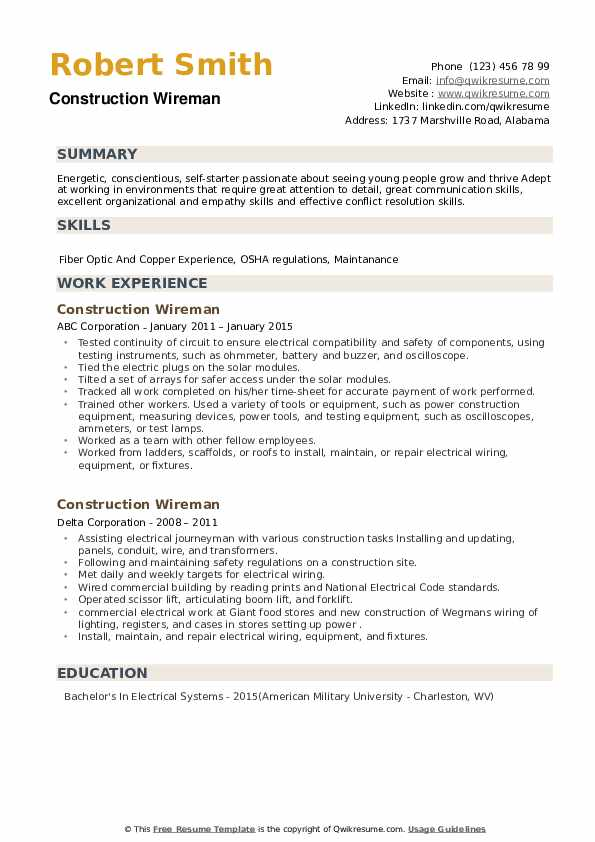 Construction Wireman Resume example