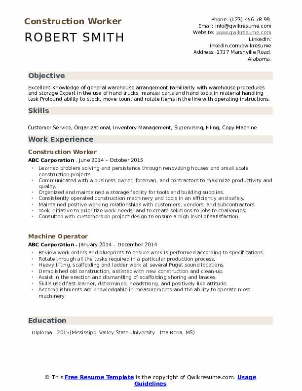 Construction Worker Resume Format