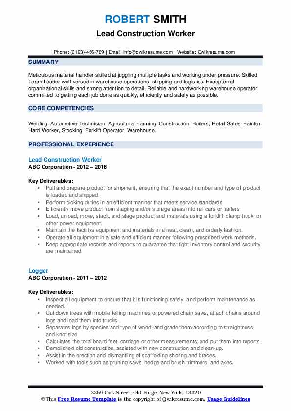 Lead Construction Worker Resume Sample