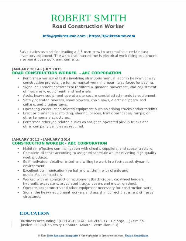 Road Construction Worker  Resume Model