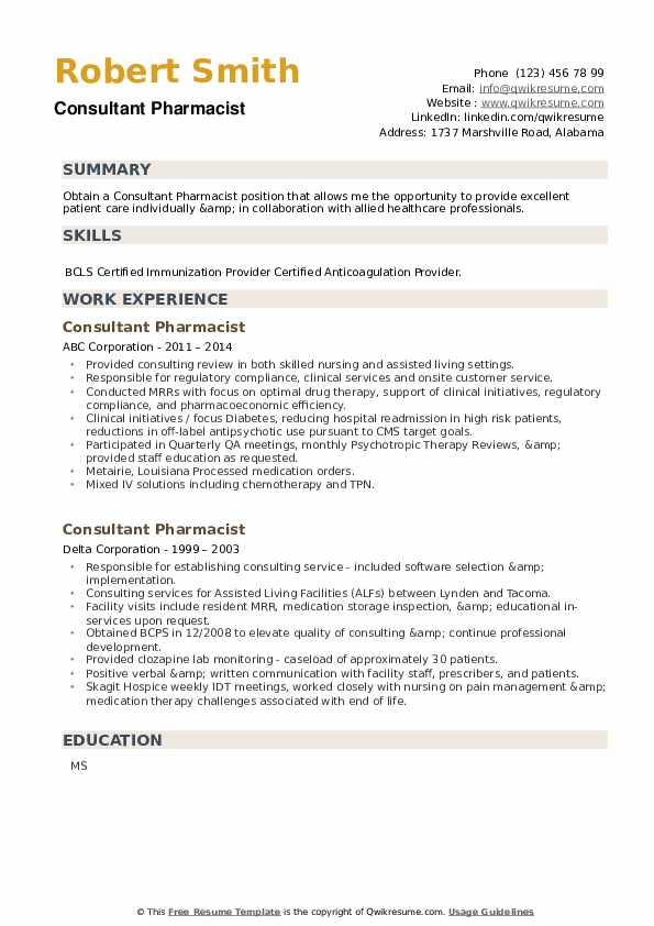 Consultant Pharmacist Resume example