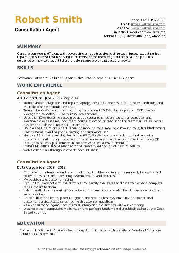 Consultation Agent Resume example