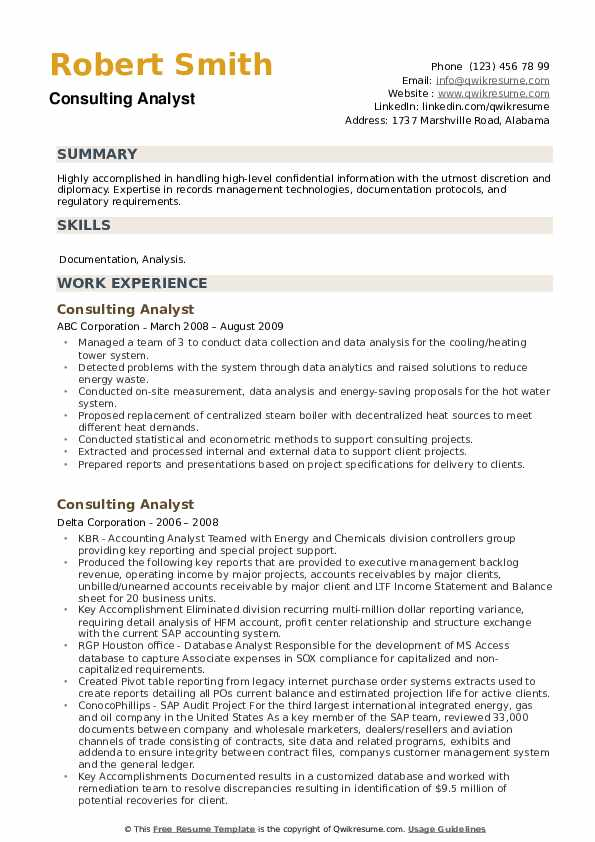 Consulting Analyst Resume example